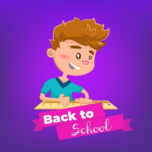 Niño de dibujos animados estudiando un tema de regreso a la escuela