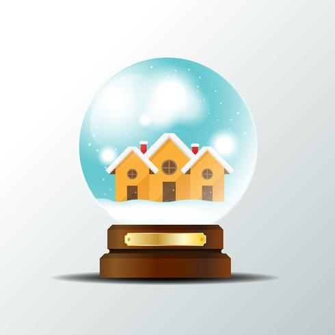 Realistic christmas snow globe background