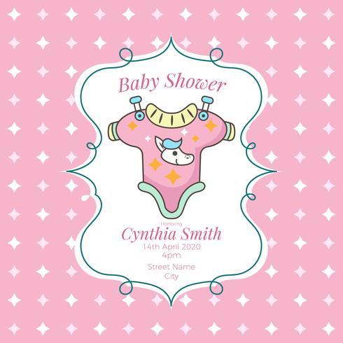 Tarjeta de baby shower con linda camiseta y pony.