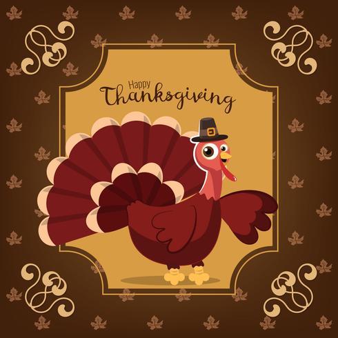 Tarjeta de felicitación de acción de gracias con un pájaro pavo. Fondo marrón con personaje de dibujos animados divertido para vacaciones