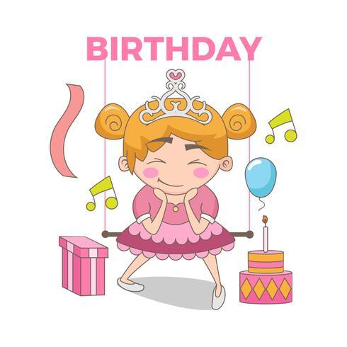 Feliz cumpleaños ilustración de bella princesa