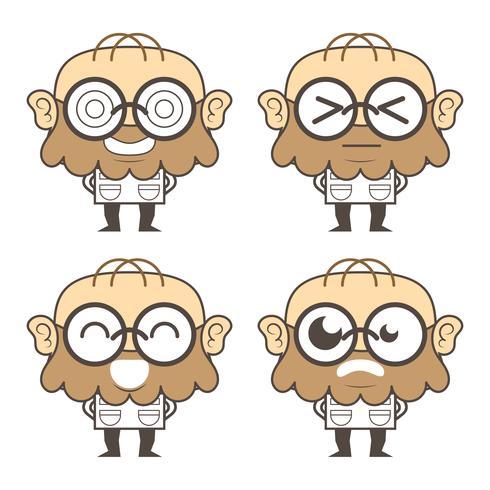 Cientista engraçado ou personagens de banda desenhada do professor.