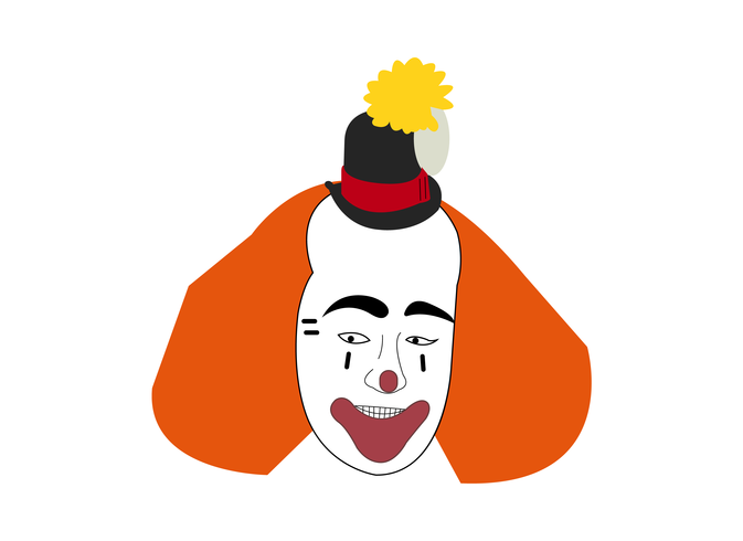 Clown hoofd en gezicht