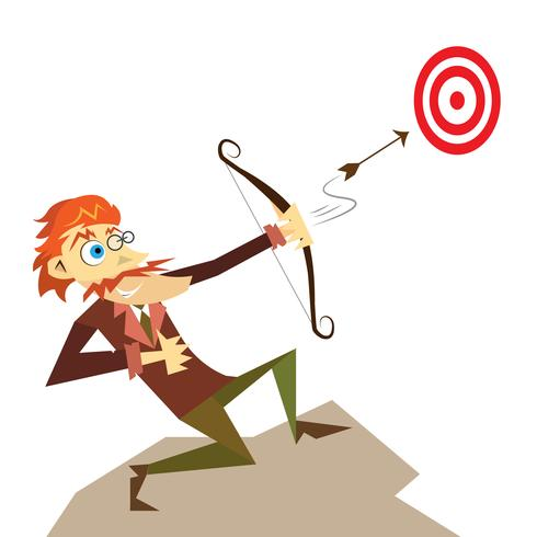 Economist business man illustration shooting with a bow