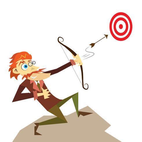Illustration d'homme d'affaires économiste, tir avec un arc