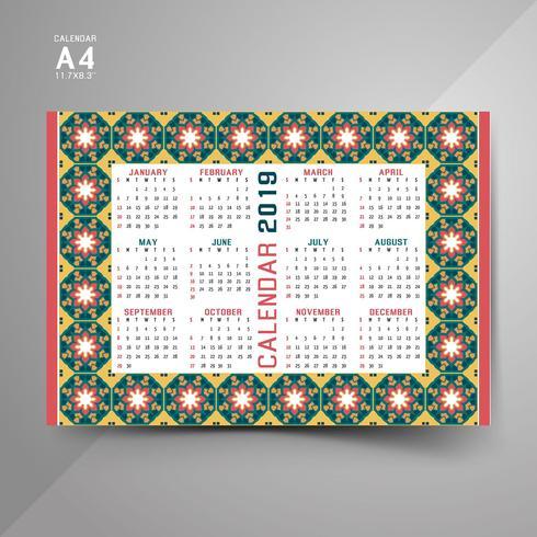 2019 Kalender med färgglada mönster
