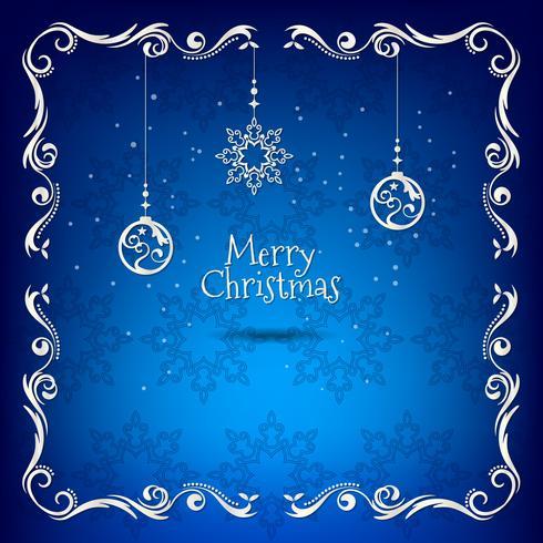 Tarjeta de felicitación azul y dorada de Navidad vintage con decoración floral