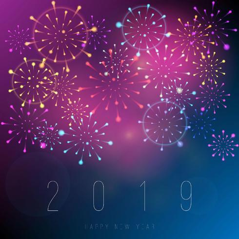 Fond de feux d'artifice réalistes nouvel an 2019