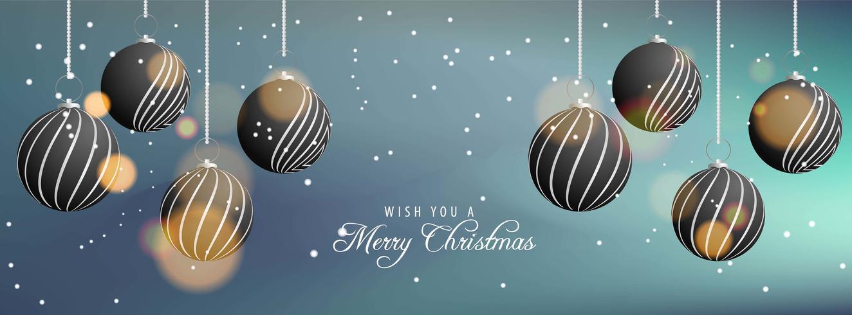 Bannière de Noël avec des boules de Noël noires