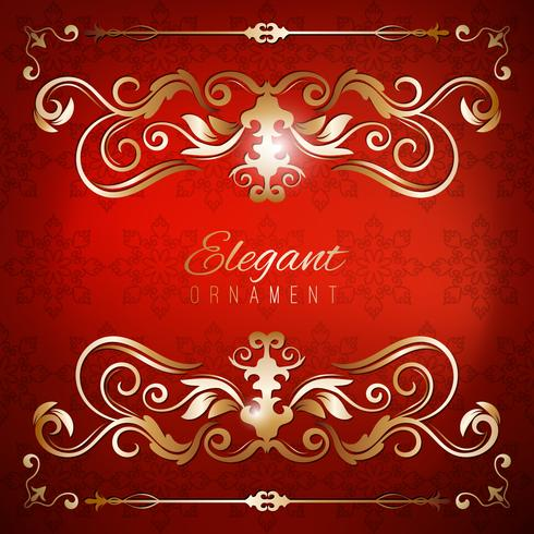 Tarjeta de invitación de la vendimia. Fondo de lujo rojo con marco dorado. Plantilla para el diseño