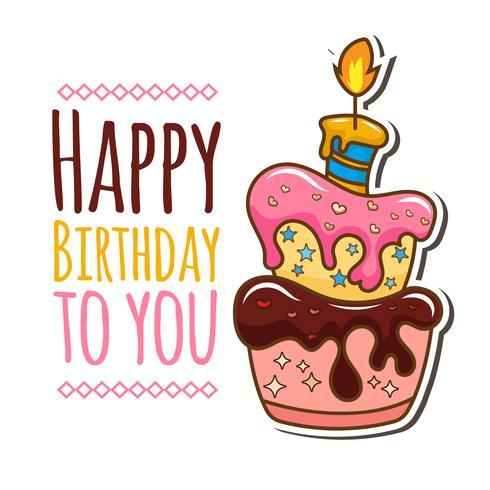 Födelsedagskort med tårta illustration