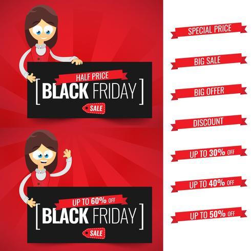 Plantilla de diseño de inscripción de venta de viernes negro. Dibujos animados de la empresaria Ofertas con oferta, descuento, precio especial.