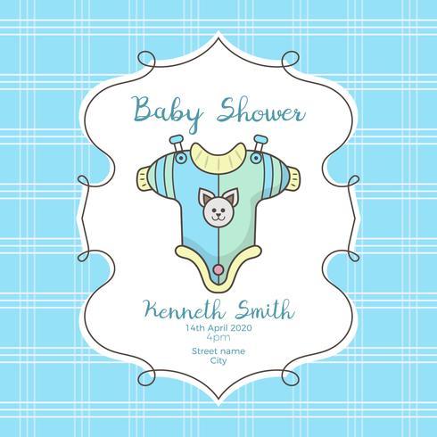 Baby shower kort med söt skjorta och björn