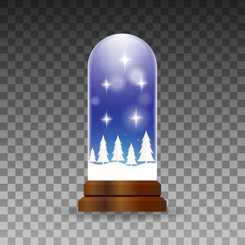 Realistic christmas snow globe background