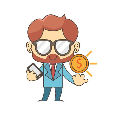 Businessman hold a big gold coin in his hand. Business and finance concept