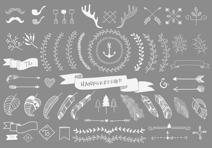 Inzamelingsreeks van de hand geschetste vectorillustratie van het etiketornament