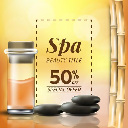Vector illustration of a blurred style, set for spa treatments with massage oil and bamboo
