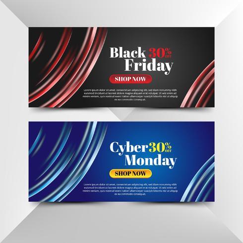 Flyer de vendredi noir et cyber lundi avec lumières