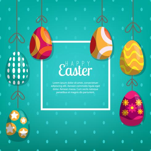 Fondo con los huevos que cuelgan, ilustración del vector. Feliz tarjeta de felicitación de pascua