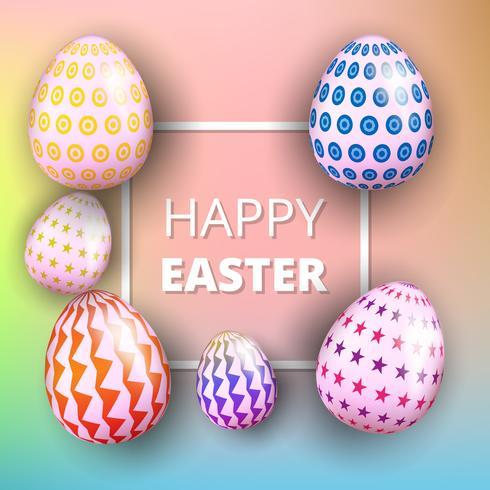 Tarjeta de Pascua feliz con huevos, hierba, hojas y fondo rosa borroso