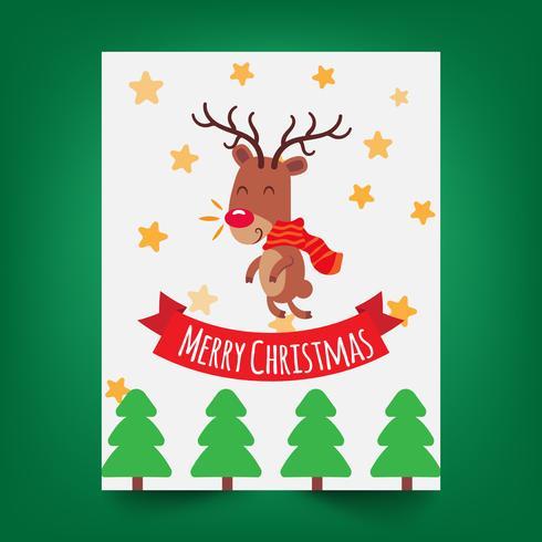 Tarjeta de felicitación de la Feliz Navidad con un pequeño ciervo lindo.