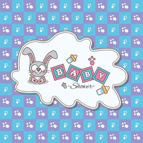 Blått kort för baby shower med en söt kanin