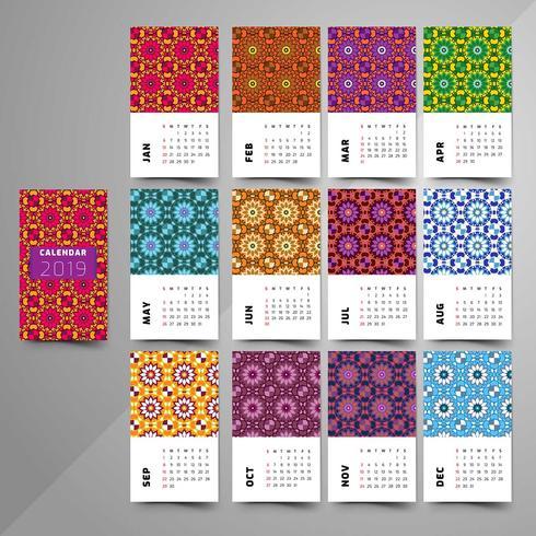 Calendario 2019. Elemento decorativo vintage.