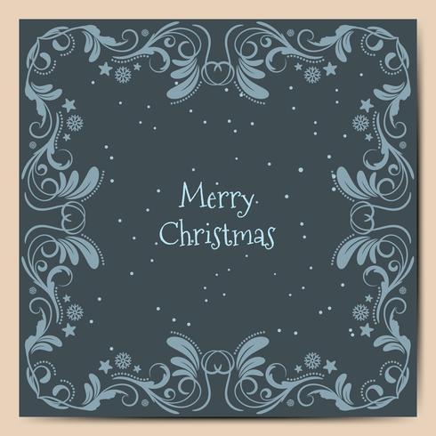 Felices fiestas navideñas desean diseño de tarjeta de felicitación y fondo azul