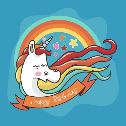Jolie carte de licorne avec arc-en-ciel et étoile