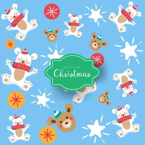 Tarjeta de Navidad con dibujos animados lindo niño y padre