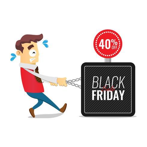 Modello di progettazione di iscrizione di vendita di Black Friday. Cartone animato uomo d'affari