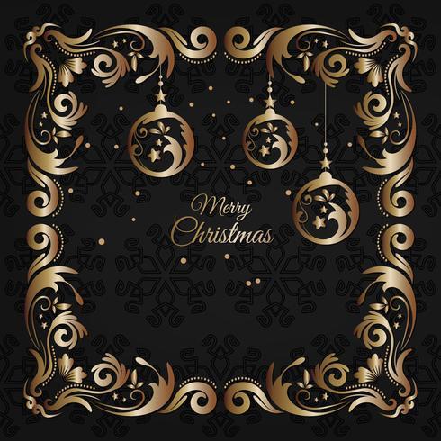 Carte de souhaits vintage de luxe et dorée de Noël avec décoration florale