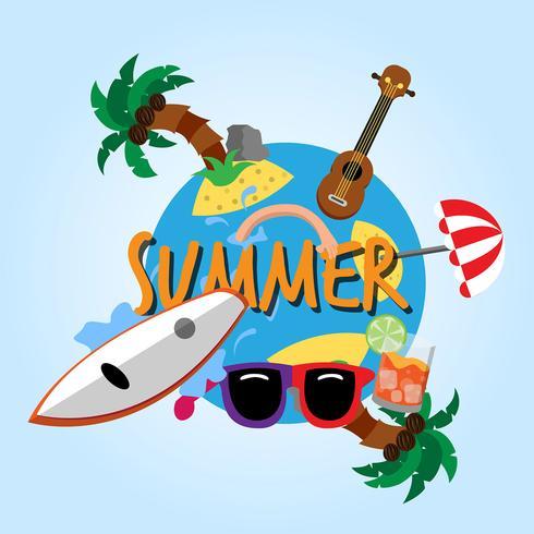 Vector fondo de verano con elementos de verano