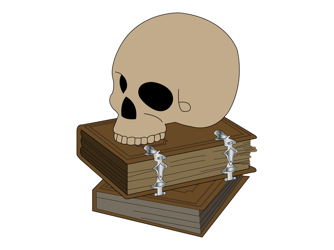 Human skull on top of old books