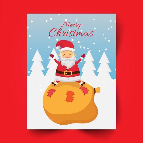 Joyeux Noël et Père Noël assis sur le sac