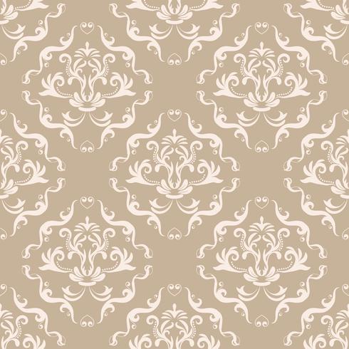 Patrón floral. Papel pintado barroco, damasco. Vector de fondo sin fisuras Adorno marrón y blanco
