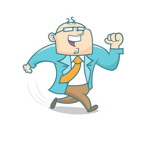 Caricature simple d'un homme d'affaires en cours d'exécution