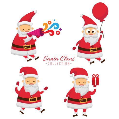 Samling av julen Santa Claus. Ställ av roliga tecknade figurer med olika känslor