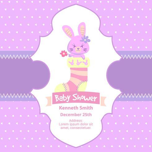 Jolie carte de naissance avec un lapin rose