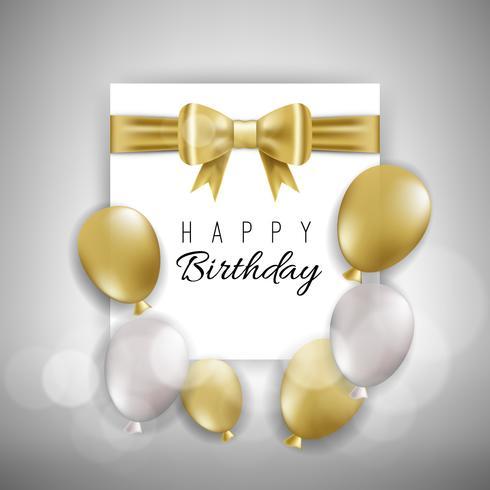 Tarjeta de cumpleaños con globos dorados y blancos.
