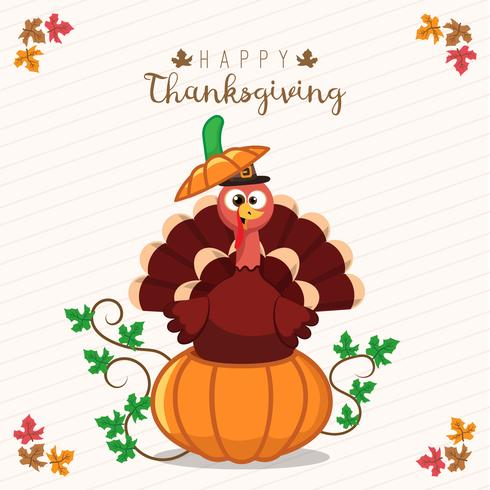 Thanksgiving greeting card with a turkey and pumpkin. Funny cartoon character for holiday