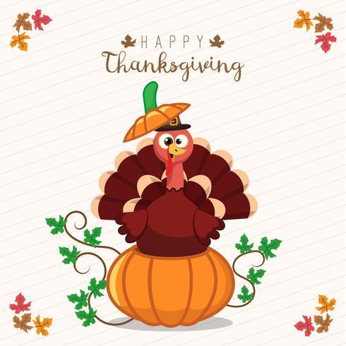 Cartão de ação de Graças com um peru e abóbora. Personagem de desenho animado engraçado para férias