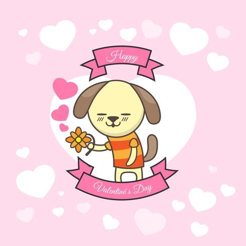 Carte de voeux Saint Valentin avec chien mignon et fleur Premium Vector