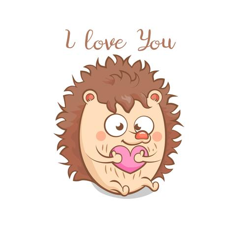 Erizo lindo con el corazón. Te amo mensaje