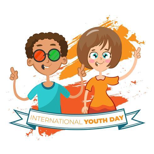 Fondo de amigos celebrando el día del día de la juventud.
