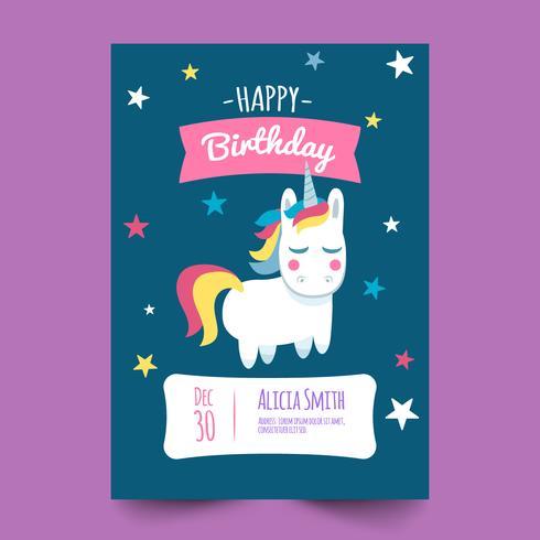 Tarjeta de cumpleaños con linda unicornio y estrella