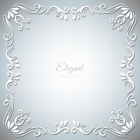 Ornament frame on silver background