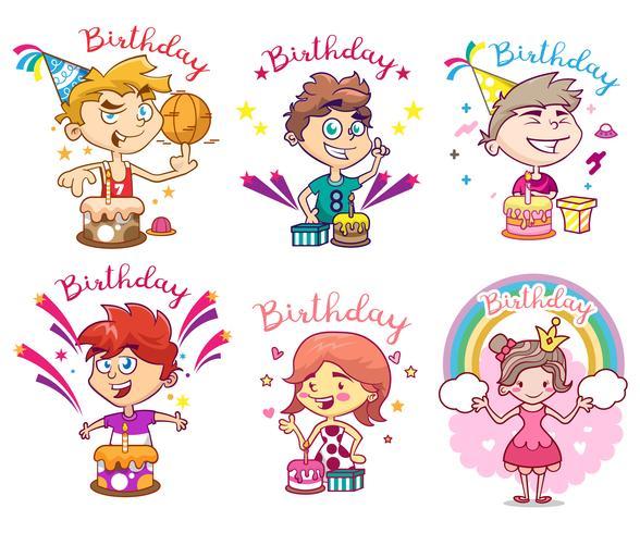 Pack of happy birthday design. Children's illustration