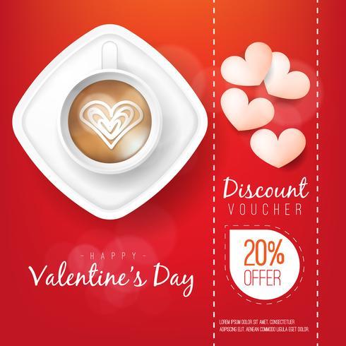 Tarjeta de felicitación en blanco de las tarjetas del día de San Valentín y taza de café roja en fondo rojo