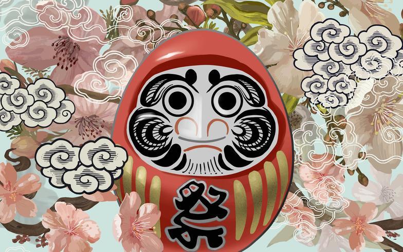 Daruma, une illustration de poupée japonaise traditionnelle
